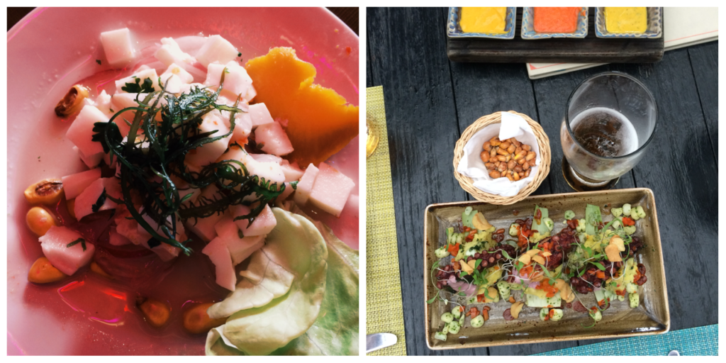 Ceviche from a Miraflores cafe and Grilled Octopus from the famous La Mar restaurant owned by Gaston Acurio